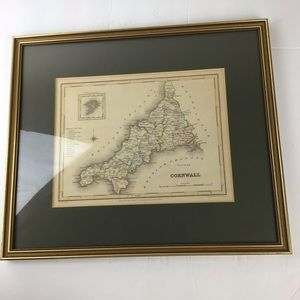 Antique 1831 framed map of Cornwall England.